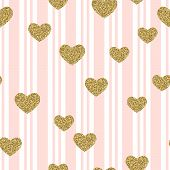 Gold Glittering Confetti Hearts On Stripes Seamless Pattern. Gold Hearts On Lines Vector Background. poster