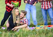 Open Air Party. Group Friends Summer Picnic. Friends Enjoy Vacation. People Eating Food Drink Alcoho poster