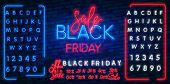 Neon Sale. Dark Background For Black Friday Sale. Modern Neon Red Billboard On Brick Wall. Concept O poster