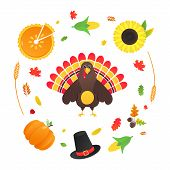 Happy Thanksgiving Day Flat Style Design Poster Vector Illustration With Turkey, Autumn Leaves, Sunf poster