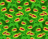 Flytrap Monster Plant Pattern Seamless. Flower Predator Carnivorous Plant Background . Angry Flowers poster
