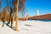 Veliky Novgorod, Russia. Fedor Tower And Clock Tower Of Veliky Novgorod Kremlin At Winter Sunny Day. poster