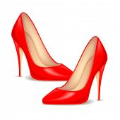 stock photo of high heels  - illustration of pair of red high heel shoe for female - JPG