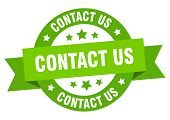 Contact Us Ribbon. Contact Us Round Green Sign. Contact Us poster