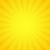 Yellow Pop Art Comic Background With Blast Halftone Dot.cartoon Comic Explosion Pattern With Radial  poster