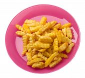 French Fries On A Pink Plate Isolated On White Background.french Fries On A Plate Top Side View .jun poster