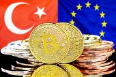 Concept For Investors In Cryptocurrency And Blockchain Technology In The Turkey And European Union.  poster