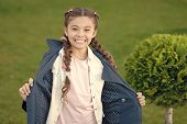 Good Mood. Autumn Weather. Cypress Tree. Happy Child With Thuja. Positive Kid. Little Girl With Tren poster