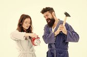 Rage And Hate. Early Morning Anxiety. Get Rid Of Annoying Alarm Clock. Couple Bathrobes Going To Des poster