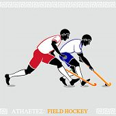 stock photo of bandy stick  - Greek art stylized field hockey players - JPG