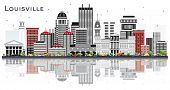 Louisville Kentucky USA City Skyline with Gray Buildings and Reflections Isolated on White. Business poster