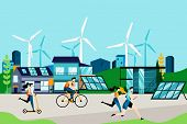 Eco City And Eco Living Concept. Modern Technologies Of Green Energy, Solar Panels And Wind Turbines poster