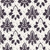 Seamless Pattern. Hand Drawn Stylized Christmas Tree Floral. Poinsettia Flower Dot Background. Tradi poster