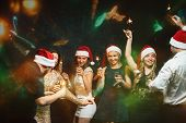 Christmas, Dance Party In Night Club, Holiday, Fun. Happy People Celebrating New Year Together. Comp poster