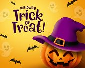 Halloween Pumpkin Vector Background. Halloween Trick Or Treat Greeting Text With Pumpkin, Hat And Em poster