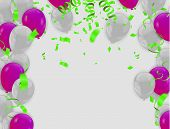 Happy Birthday Backgrounds Grand Opening Ceremony Vector Banner. Realistic Glossy Balloons, Confetti poster
