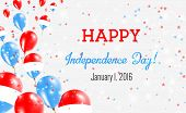 Luxembourg Independence Day Greeting Card. Flying Balloons In Luxembourg National Colors. Happy Inde poster