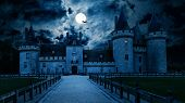 Haunted Gothic Castle At Night. Old Spooky House In Full Moon. Creepy View Of Dark Mystery Castle Wi poster
