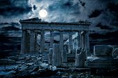 Athens At Night, Greece. Fantasy View Of Old Mysterious Parthenon Temple, Top Landmark Of Athens Cit poster