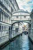 Bridge Of Sighs, Venice, Italy. It Is A Famous Landmark Of Venice. Vertical View Of Old Canal Under  poster