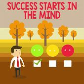 Conceptual Hand Writing Showing Success Starts In The Mind. Business Photo Text Set Your Mind To Pos poster