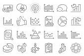 Charts And Diagrams Line Icons. Report, 3d Chart, Block Diagram And Dot Plot Graph Linear Icons. Tre poster