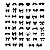 Vector Sillouettes,set Of Graphical Decorative Bows, Flat Design Isolated On White Background,bow  F poster