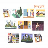 Businessman Character Daily Routine Set, Man Waking Up, Running, Having Breakfast, Going To The Work poster