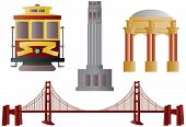 stock photo of golden gate bridge  - San Francisco Golden Gate Bridge Trolley Coit Tower and Palace of Fine Arts Illustration - JPG