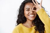 Girl Aim For Perfection. Attractive Carefree Young Happy African American Woman With Curly Hair, Whi poster