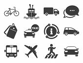 Car, Bike, Bus And Taxi Signs. Discount Offer Tag, Chat, Info Icon. Transport Icons. Shipping Delive poster