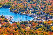 View From Mount Battie Overlooking Camden Harbor, Maine. Beautiful New England Autumn Foliage Colors poster