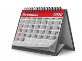 2020 year. Calendar for November. Isolated 3D illustration poster