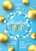 Promo Invitation Flyer For Christmas Party. Holiday Poster With Realistic Christmas Golden Balls, Go poster