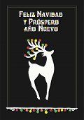 Vector Illustration With Beautiful Reindeer, Text In Spanish (spain, Español, Spagna) Feliz Navidad  poster