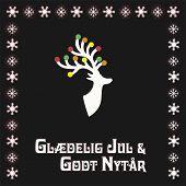 Vector Illustration With Reindear And Text In Danish (denmark, Danmark) Gladelig Jul Och Godt Nytår, poster