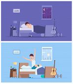 Wake Up Man. Joyful Happy Morning Sleeping Male Person Stretching In Bad Sitting On Mattress Vector  poster