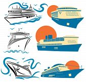 Set Of Stylized Cruise Liners. Collection Of Cruise Logos. Vector Illustration For Travel. poster