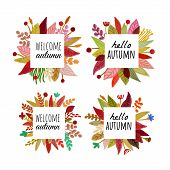 Autumn Floral Frame Banner Herbal Backdrop Colorful Leaves  Background With Place Hello Autumn Text. poster