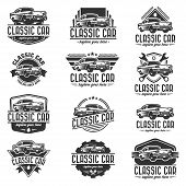 Set Or Pack Or Collection Of Template Of Classic Or Vintage Or Retro Car Logo Design. Vintage Style poster