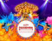 Illustration Of Lord Rama And Ravana In Dussehra Navratri Festival Of India Poster poster