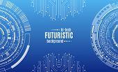 Hi-tech Digital Technology Concept. Illustration High Computer Technology On Blue Background.  Abstr poster