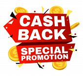 Cash Back Vector Label. Money Refund Banner With Gold Coins. Cash Offer Refund, Cashback Finance Fro poster