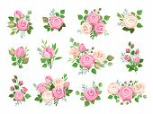 Rose Bouquets. Red, White And Pink Roses, Flower Elements With Green Leaves And Buds. Watercolor Wed poster
