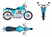 Motorbike Side And Top View. Motorcycle Motocross Vehicles. Detailed Motorcycling Transport Isolated poster