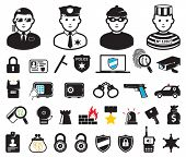 Crime world symbols, set