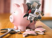 Piggy bank and appliances. Savings to buy home appliances. 3d illustration poster