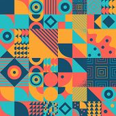 Vintage Retro Bauhaus Style Vector Seamles Pattern poster