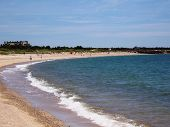 stock photo of sunny beach  - summer day at beach near cape cod - JPG
