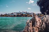 View From The Coast In A Green Lagoon Near The Town Of Porec On The Istrian Peninsula. Magnificent N poster